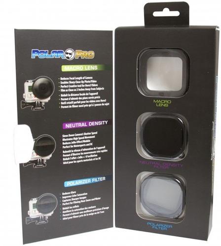 kit polar pro p1015 com lente macro, para gopro hero3+