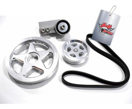 kit polias alumínio + correia + esticador   fusca   prata