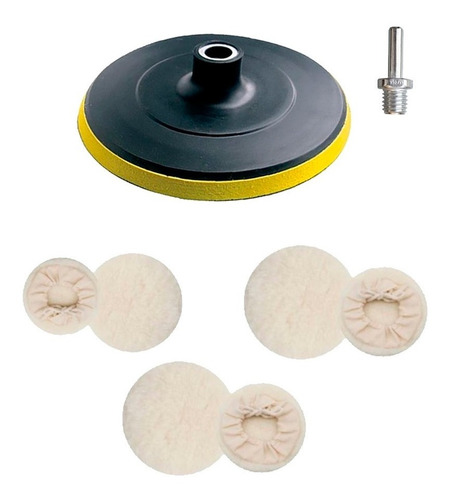 kit polimento automotivo disco 125mm furadeira c/3 boinas lã
