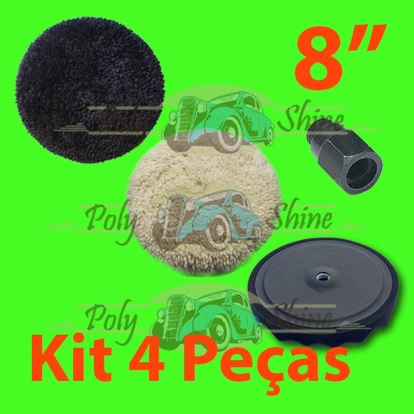 Kit Polimento - Boinas De Lã E Espuma Com Prato 8 Polegadas - R  134 ... dacd2bb97d5