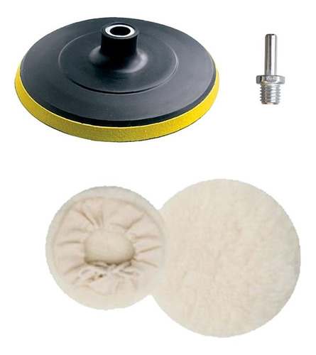 kit polimento c/1 boinas lã adaptador disco 125mm furadeira