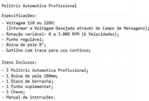 kit politriz auto lixadeira profissional + boina polimento