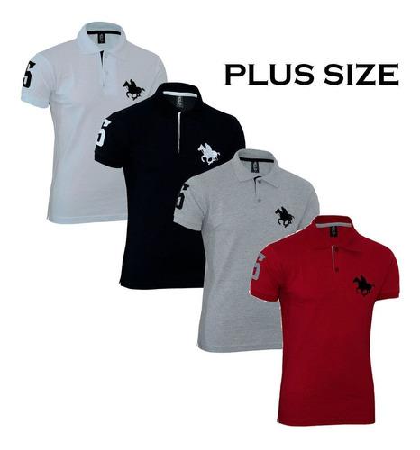 kit polos masculinas plus size rg518 04 cores