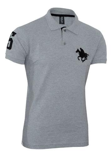kit polos masculinas plus size rg518 cinza-branco-vermelho