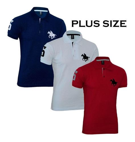 kit polos masculinas plus size rg518 marinho-branco-vermelho