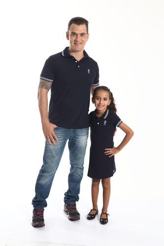 kit polos tal pai tal filha marinho céu