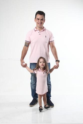 kit polos tal pai tal filha rosa amor