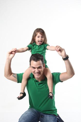 kit polos tal pai tal filha verde esperança