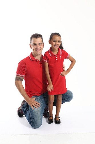 kit polos tal pai tal filha vermelho paixão