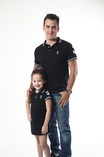 kit polos tal pai tal filho preto elegancia