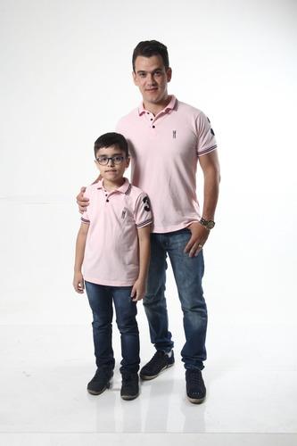 kit polos tal pai tal filho rosa amor