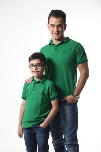 kit polos tal pai tal filho verde bandeira