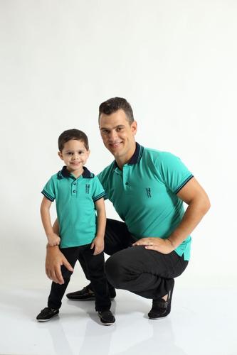 kit polos tal pai tal filho verde jade