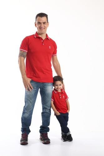 kit polos tal pai tal filho vermelho paixão