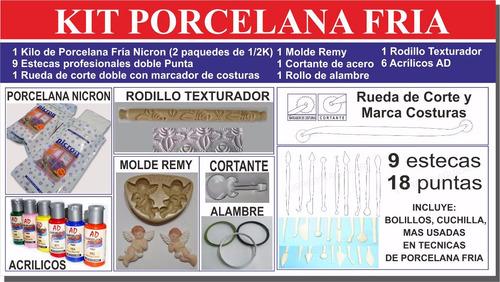 kit porcelana fria con accesorios completo estecas moldes