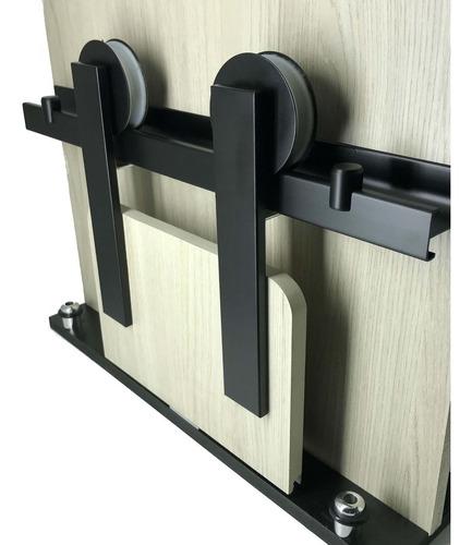 kit porta de correr roldana aparente preto trilho 2mt 100 kg