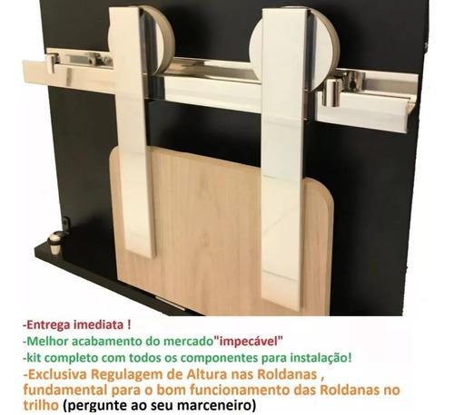 kit porta de correr roldana aparente trilho 2 mt até 100 kg
