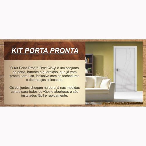 kit porta de madeira lisa classic 7001 brasgroup 210cmx80cm