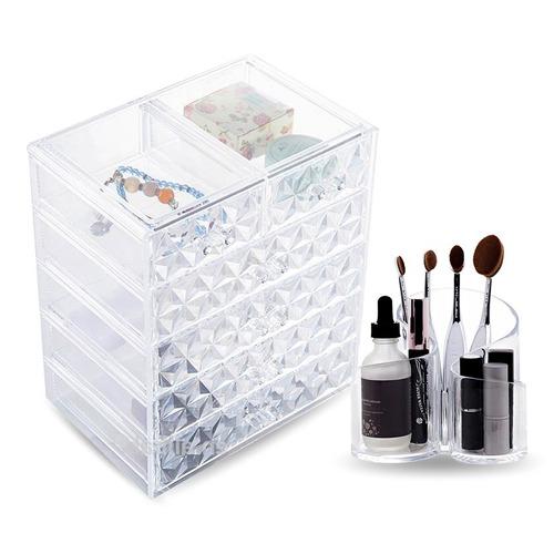 kit porta maquiagem e pincel de acrílico pronta entrega