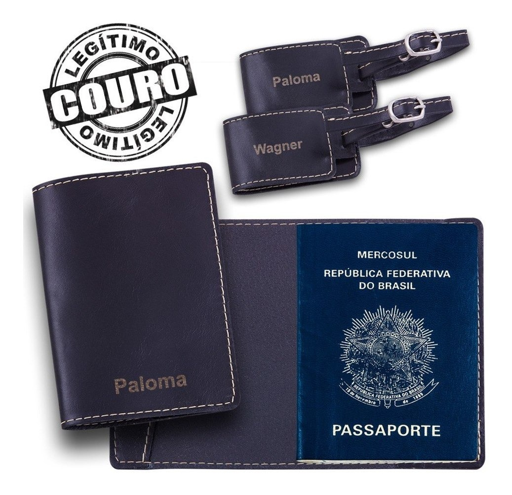 84952511e2 Kit Porta-passaporte E Tag De Mala Em Couro Preto Com Nome - R$ 119 ...