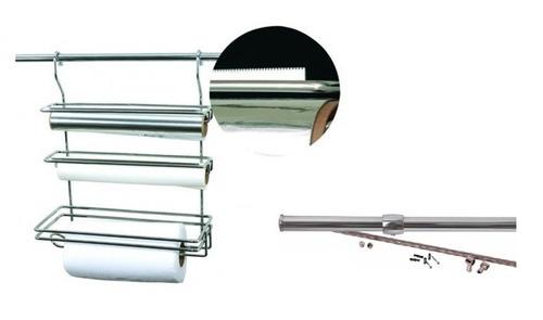 kit porta rolos triplo serrilhado 4261 + tubo 45cm jomer