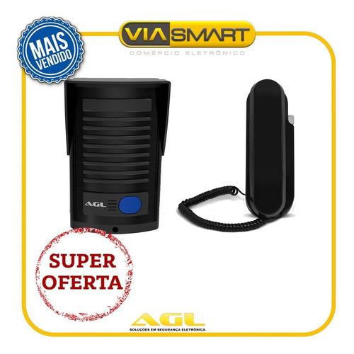 kit porteiro eletrônico agl interfone p100 preto