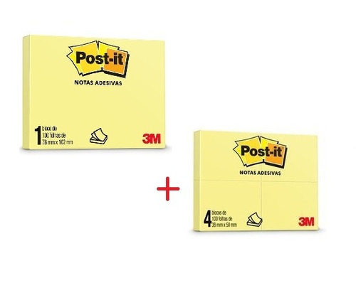 kit post-it 76x102 amarelo + post-it 38x50 c/ 100 fls