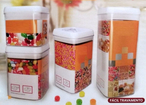 kit potes em acrílico com tampa para biscoitos doces +brinde