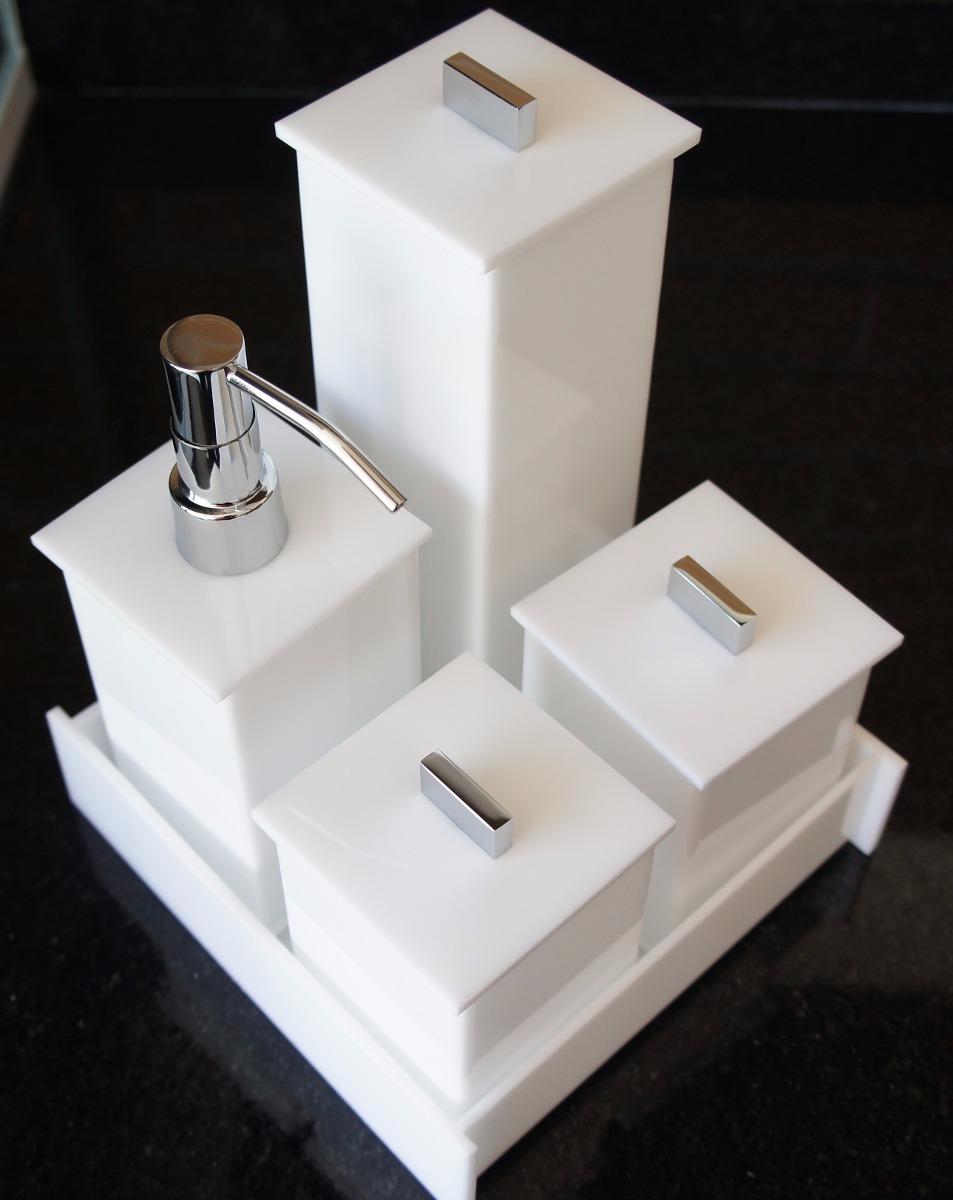 Kit Para Banheiro Em Acrílico : Kit potes em acr?lico para banheiro lavabo p?s branco