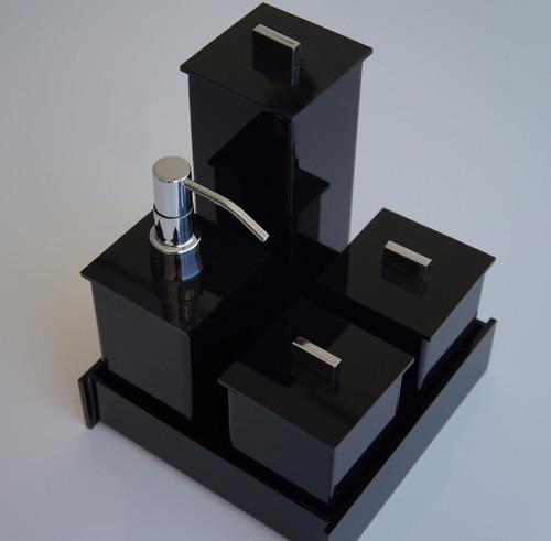 kit potes em acrílico para banheiro lavabo 05 pçs preto