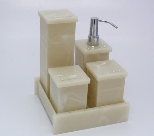 Kit Para Banheiro Em Acrílico : Kit potes p banheiro acr?lico bege marmorizado com strass
