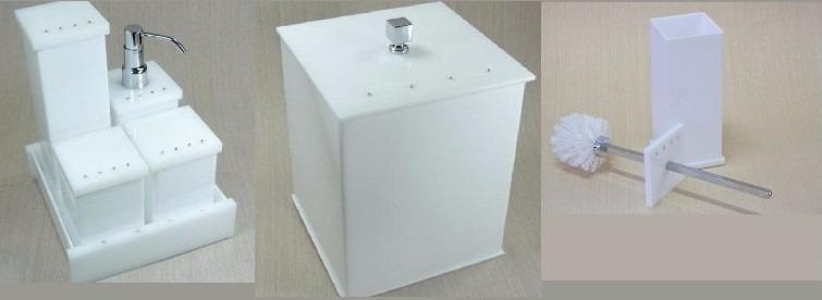 Kit Banheiro Acrilico Strass : Kit potes p banheiro acr?lico branco c strass