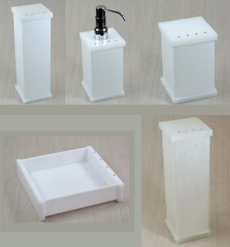Kit Banheiro Acrilico Strass : Kit potes p banheiro acr?lico branco e p?rola com strass