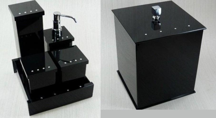 Kit Banheiro Acrilico Strass : Kit potes p banheiro acr?lico preto c strass