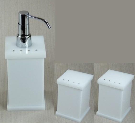 Kit Para Banheiro Em Acrílico : Kit potes para banheiro em acr?lico branco com strass r