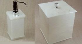 kit potes para banheiro em acrílico madrepérola sem strass