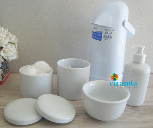 kit potes porcelana bebe termica higiene sabonete gel