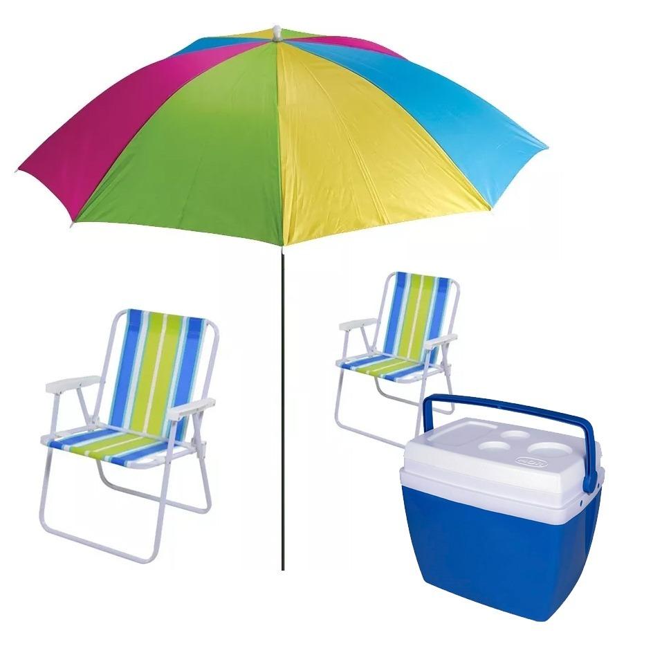 Kit Praia - Guarda Sol + Cadeiras De Praia Mor + Cooler 34l - R  242,00 em  Mercado Livre 5b27ab3ca1