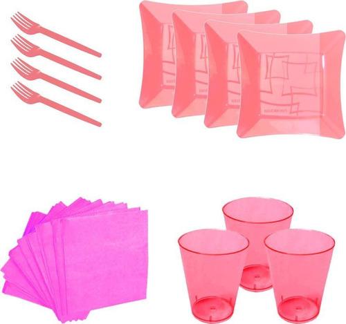 kit pratinho. copo, garfinho e  guardanapo rosa (10 pessoas)