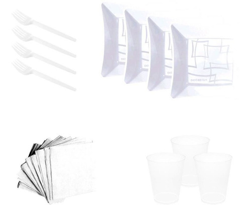 kit pratinho. copo, garfinho,  guardanapo branco(10 pessoas)