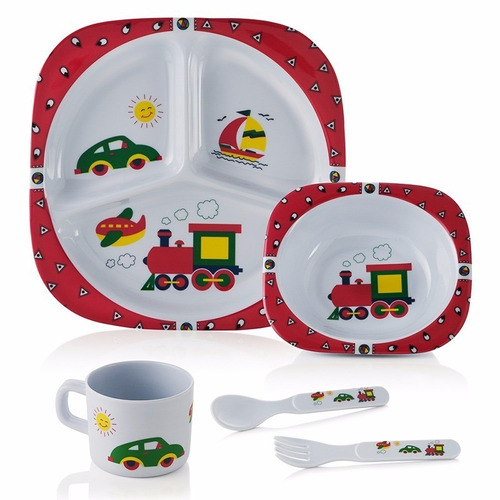 kit prato alimentação bebe infantil melamina - 5 peças
