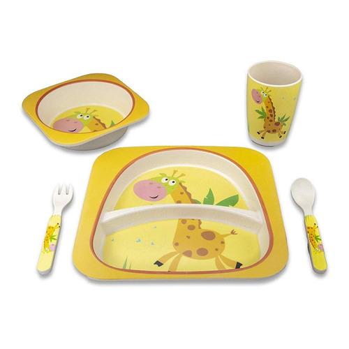 kit prato copo pratinho bebe bamboo 5 pcs livre bpa + brinde