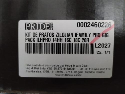 kit pratos bateria zildjian ifamily pro gig 14  16  18  20