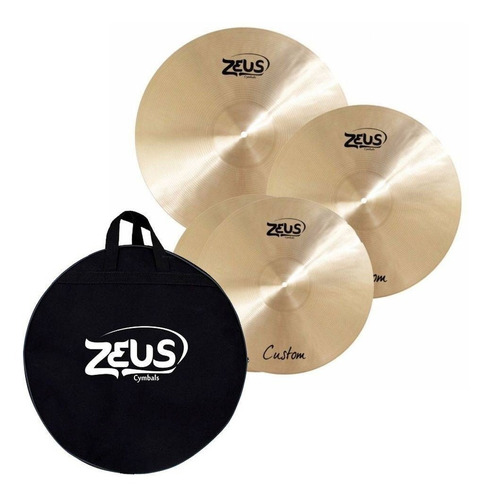 kit pratos zeus custom set c 14/16/20 hihat crash ride + bag