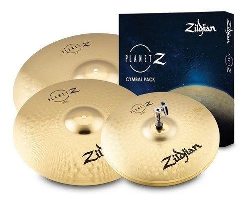 kit pratos zildjian planet z zp4pk 14 16 20 + baqueta z5a