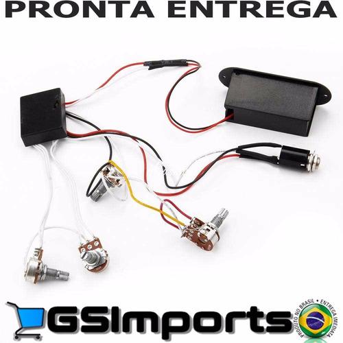 kit preamp 4 potenciometros circuito ativo para contra baixo