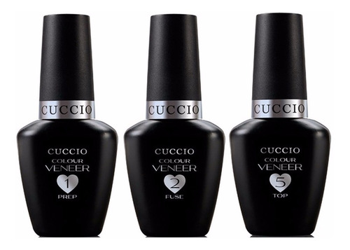 kit prep + fuse + top coat - cuccio 13ml harmony gelish