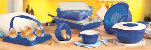 kit preparação plus azul importado 8 peças tupperware