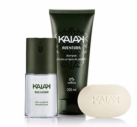 kit presente kaiak aventura (3 itens+perfuminh 1 ml+embalag)