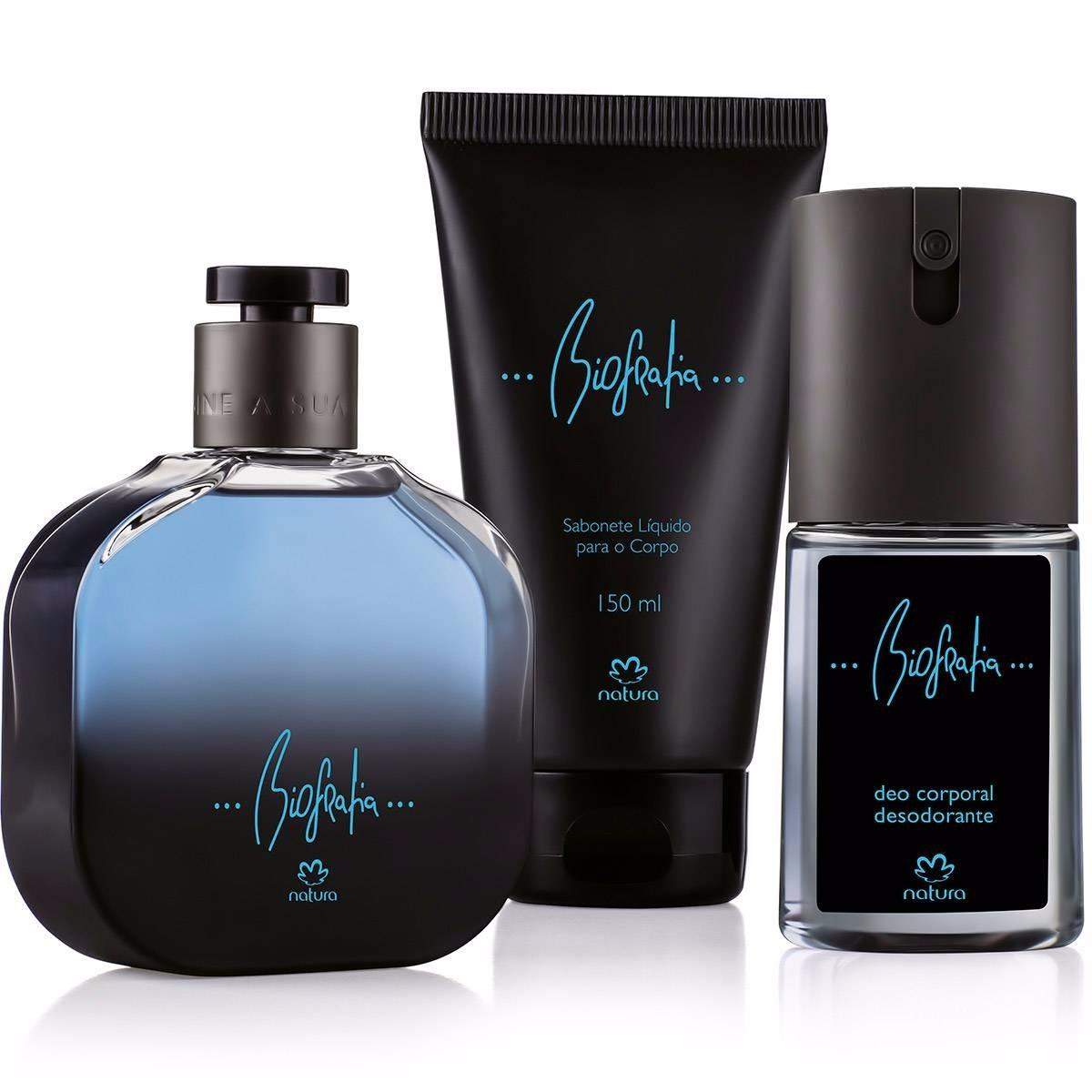 f7a02ec0d47 Kit Presente Perfume Biografia Masculino + 2 Produtos Grátis - R ...